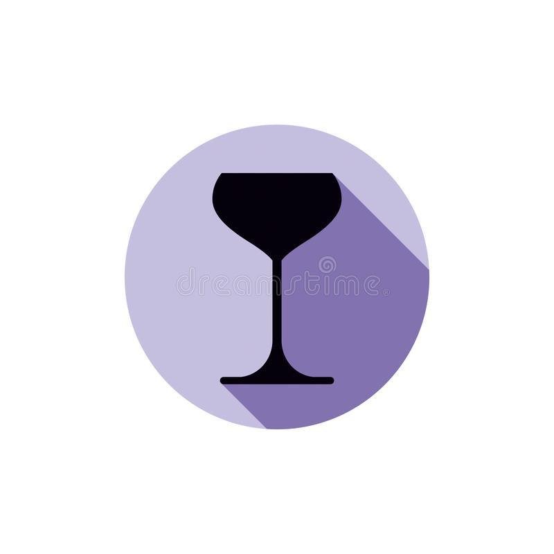 Icono del tema del alcohol, cubilete del champán colocado en un círculo Colorfu ilustración del vector