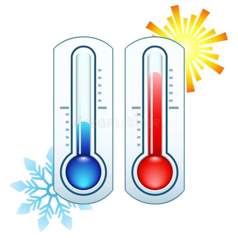 Icono del termómetro que mide temperatura caliente y fría imágenes de archivo libres de regalías