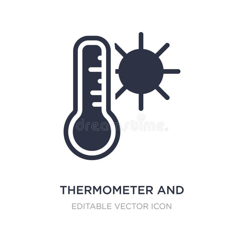 icono del termómetro y del sol en el fondo blanco Ejemplo simple del elemento del concepto del tiempo libre illustration