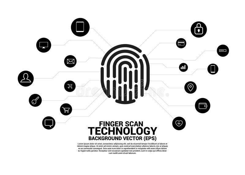 Icono del thumbprint del vector con el icono funcional stock de ilustración