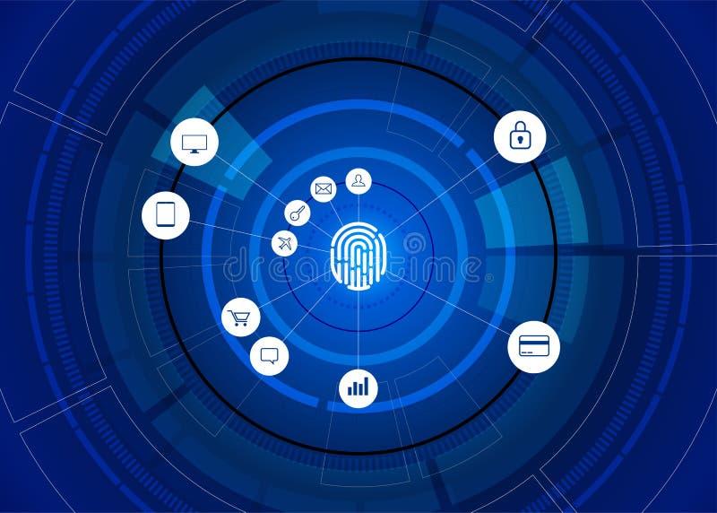 Icono del thumbprint del vector con el icono funcional en la rueda futurista libre illustration
