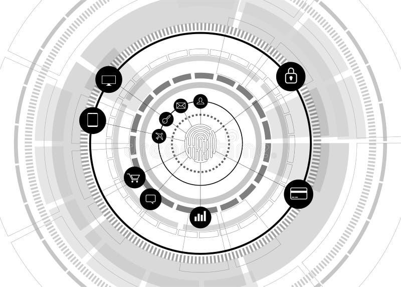 Icono del thumbprint del vector con el icono funcional en la rueda futurista stock de ilustración