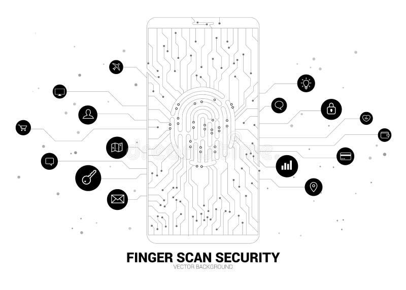 Icono del thumbprint del vector en el tel?fono m?vil del punto y de la l?nea gr?fico de la placa de circuito stock de ilustración