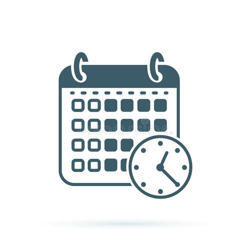Icono del tiempo del calendario Icono plano del vector del ejemplo para el web Diseño de concepto de la carpeta del orden del día ilustración del vector