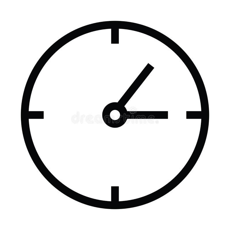 Icono del tiempo de reloj con estilo del esquema stock de ilustración