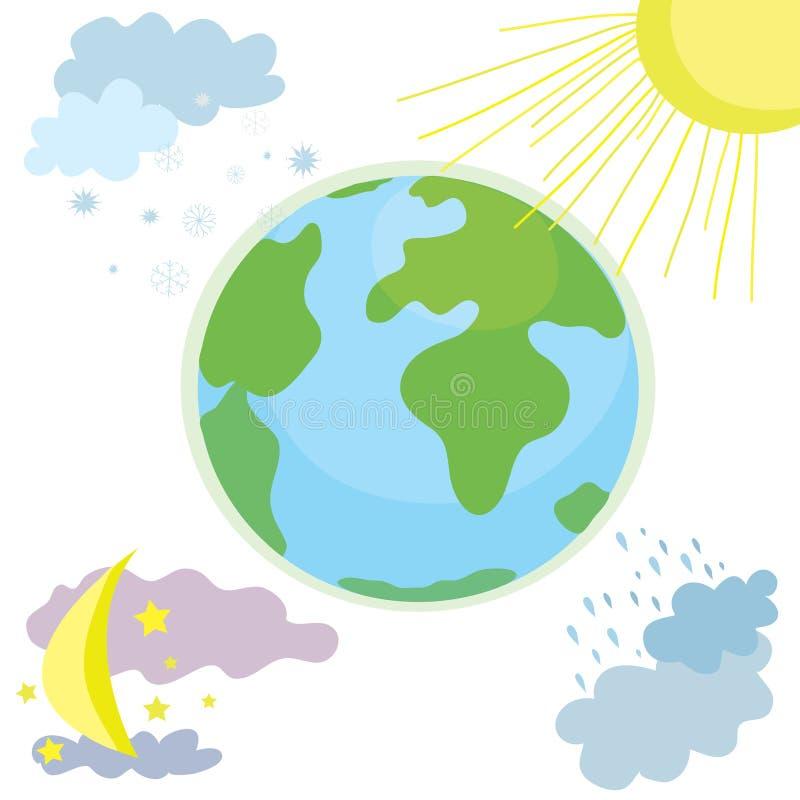 Icono del tiempo del globo con día y noche ilustración del vector