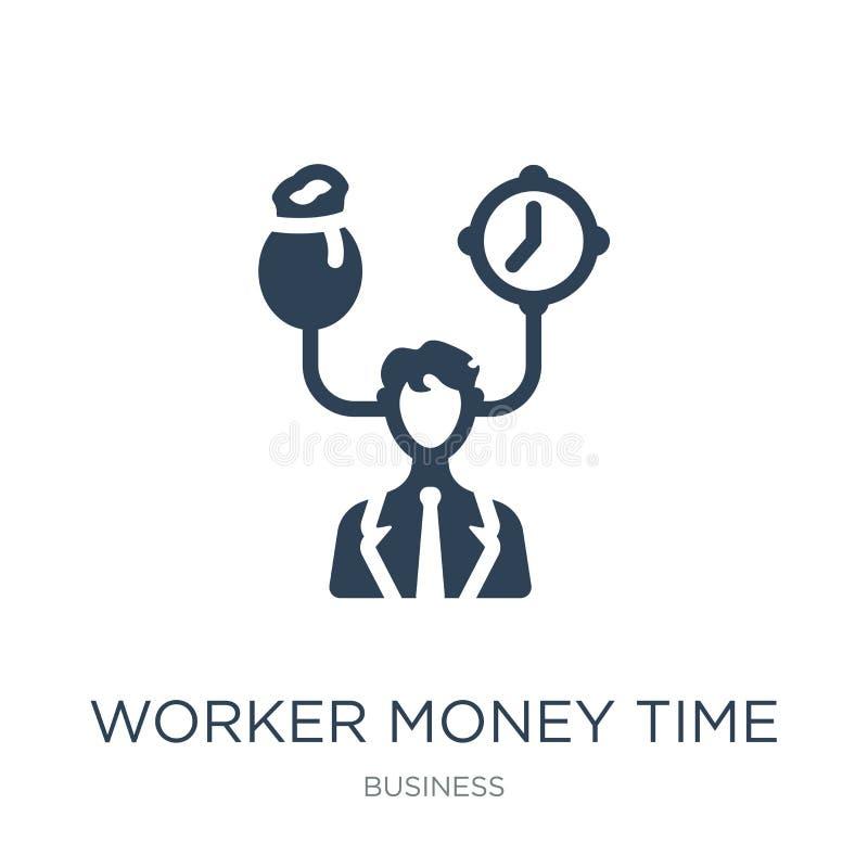 icono del tiempo del dinero del trabajador en estilo de moda del diseño icono del tiempo del dinero del trabajador aislado en el  libre illustration