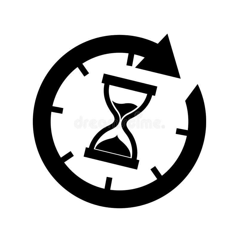 Icono del tiempo del reloj de arena - ejemplo del vector - aislado en el fondo blanco libre illustration