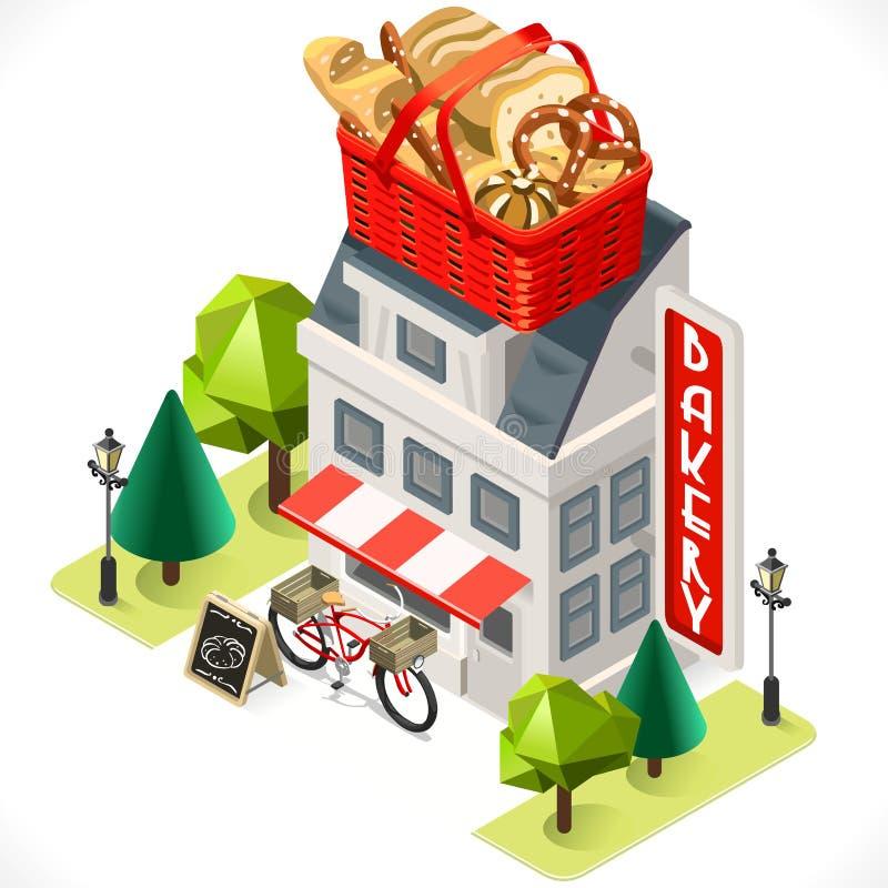 Icono del tinte del edificio de la panadería isométrico ilustración del vector