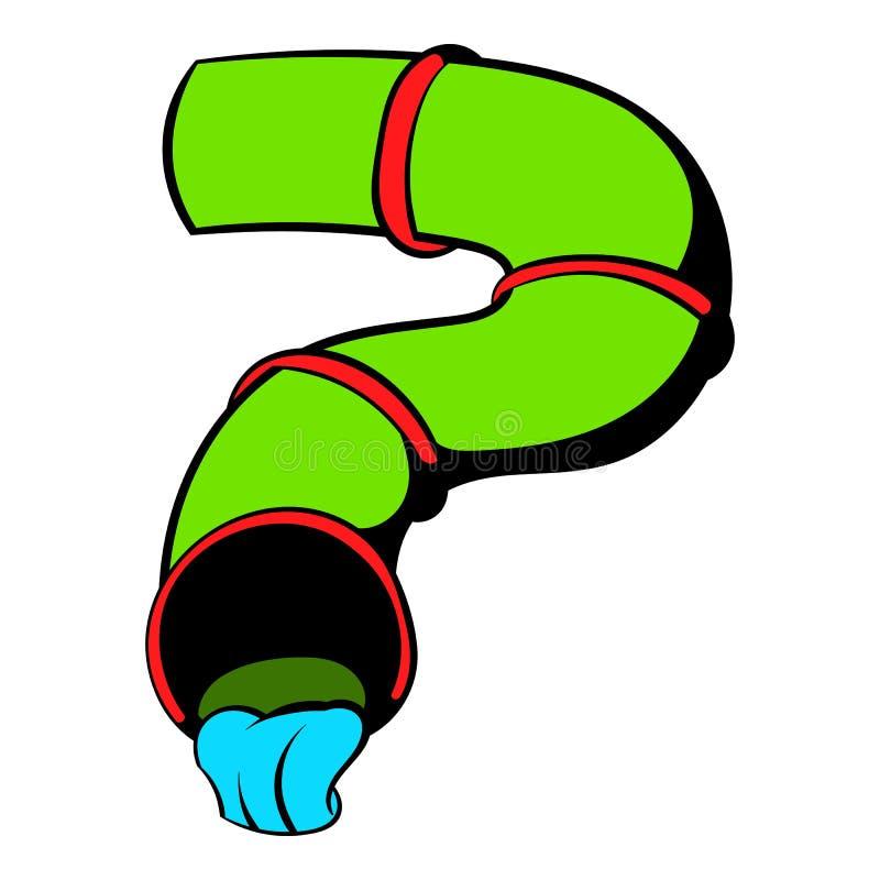 Icono del tobogán acuático, historieta del icono ilustración del vector