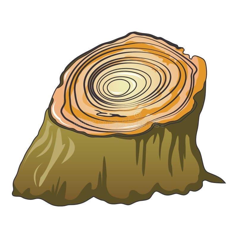 Icono del tocón de árbol de Cutted, estilo de la historieta ilustración del vector