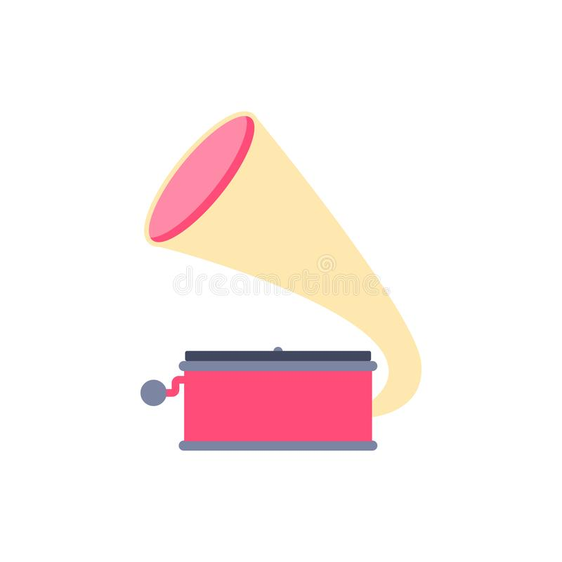 Icono del tocadiscos de la música Aislado stock de ilustración