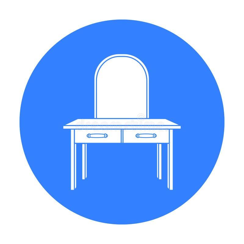 Icono del tocador en estilo negro aislado en el fondo blanco Vector interior de la acción del símbolo de los muebles y del hogar stock de ilustración