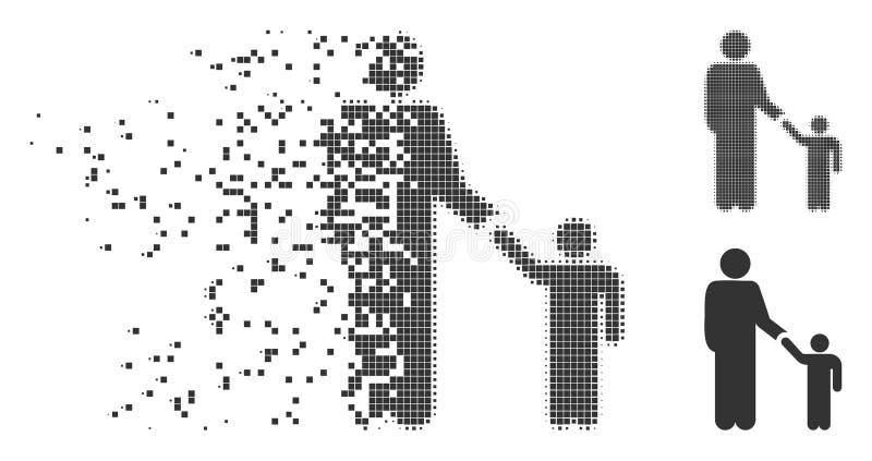 Icono del tono medio de Child Damaged Pixel del padre stock de ilustración