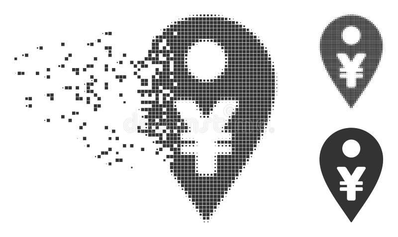 Icono del tono medio de Yen Map Marker Damaged Pixel stock de ilustración