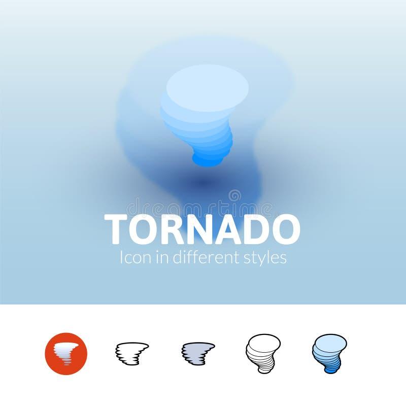Icono del tornado en diverso estilo ilustración del vector