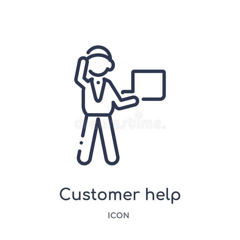 Icono del trabajador de la ayuda del cliente de la colección del esquema de la gente Línea fina icono del trabajador de la ayud libre illustration