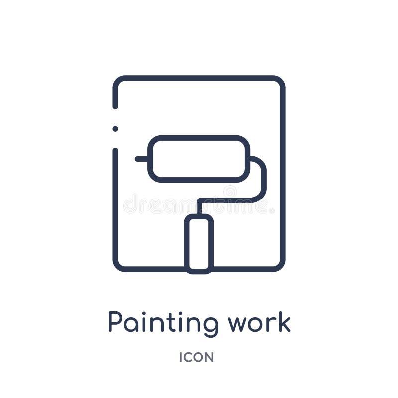 Icono del trabajo del dibujo lineal de la colección del esquema general Línea fina icono de pintura del trabajo aislado en el fon ilustración del vector