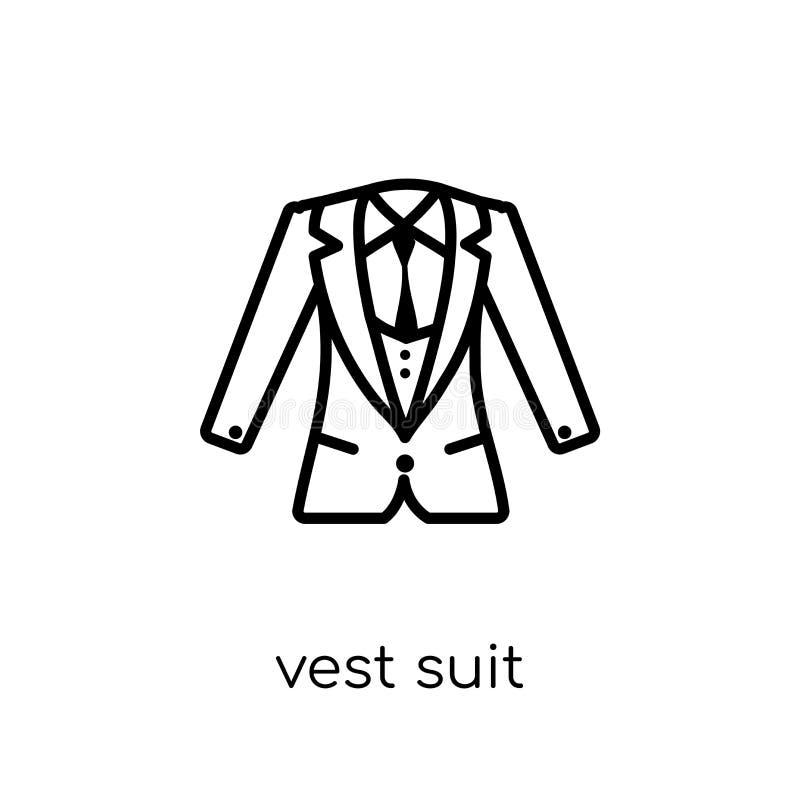 Icono del traje del chaleco Icono linear plano moderno de moda del traje del chaleco del vector stock de ilustración