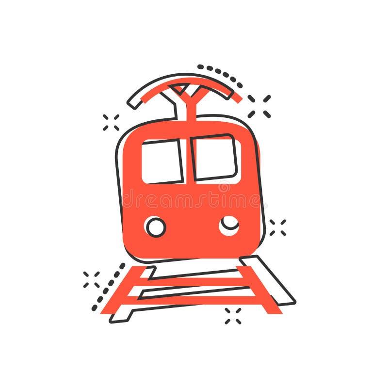 Icono del transporte del tren de la historieta del vector en estilo cómico Tren s ilustración del vector