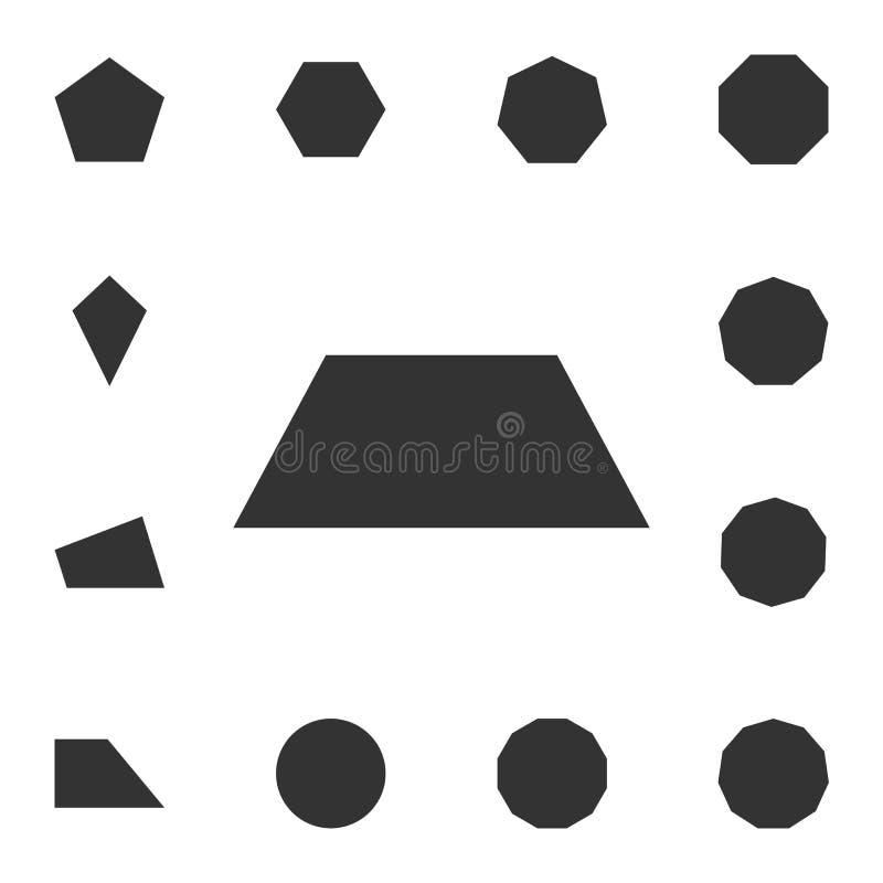 Icono del trapecio Sistema detallado de la figura geométrica Diseño gráfico superior Uno de los iconos de la colección para los s stock de ilustración
