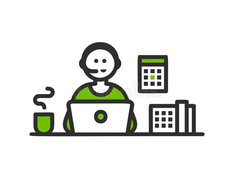 Icono del trazador de líneas del centro de ayuda, bandera del servicio de atención al cliente Línea simple diseño en el fondo bla stock de ilustración