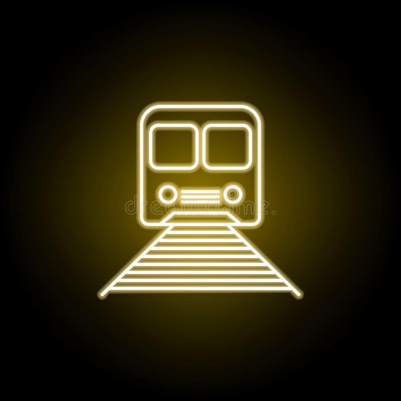 icono del tren en el estilo de ne?n Elemento del ejemplo del viaje Las muestras y los s?mbolos se pueden utilizar para la web, lo stock de ilustración