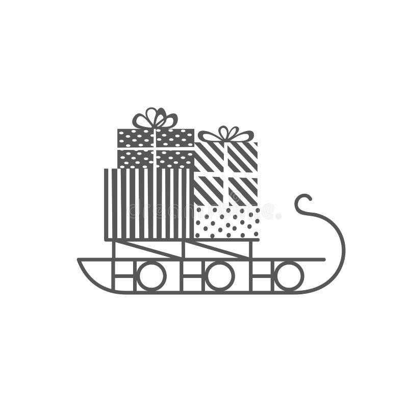 Icono del trineo de la Navidad stock de ilustración