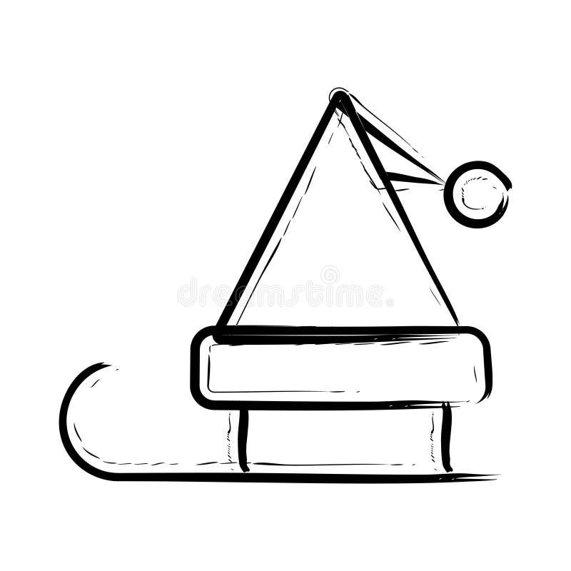 Icono del TRINEO de PAPÁ NOEL ilustración del vector