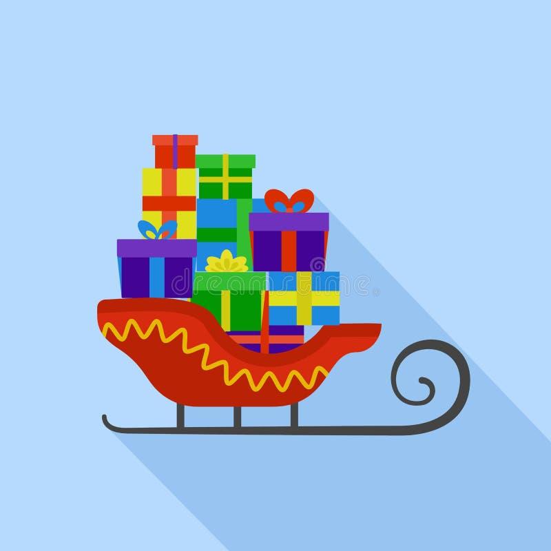 Icono del trineo de Papá Noel, estilo plano ilustración del vector