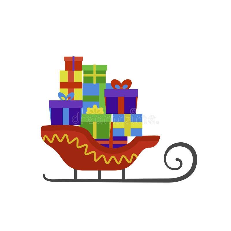 Icono del trineo de Papá Noel, estilo plano libre illustration