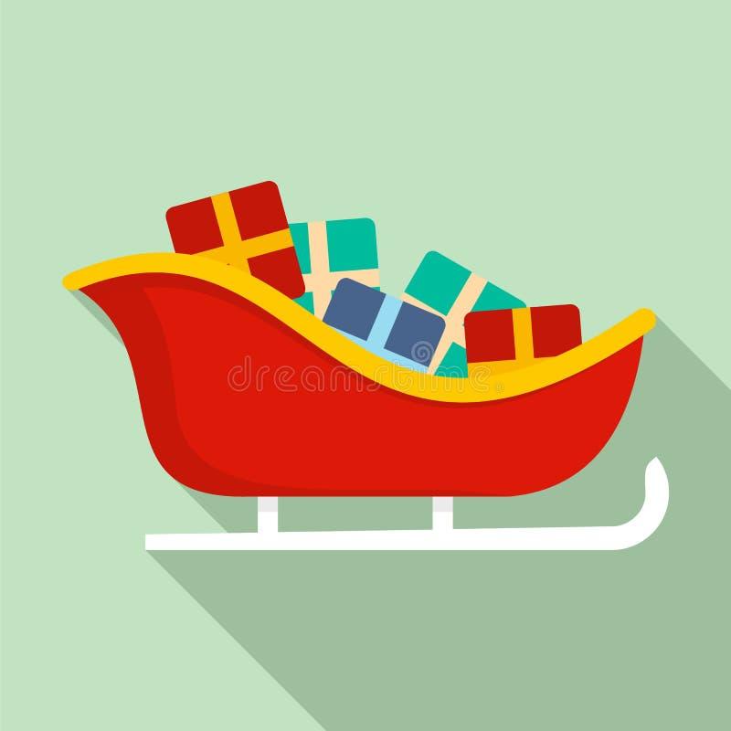 Icono del trineo de Papá Noel, estilo plano stock de ilustración