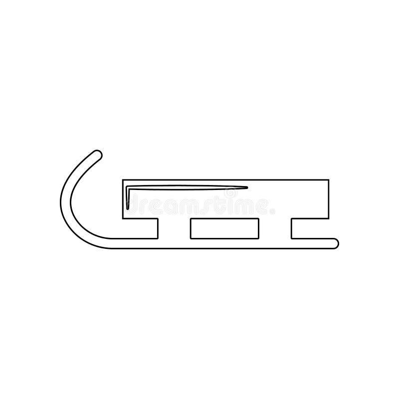 Icono del trineo Elemento del invierno para el concepto y el icono m?viles de los apps de la web Esquema, l?nea fina icono para e stock de ilustración