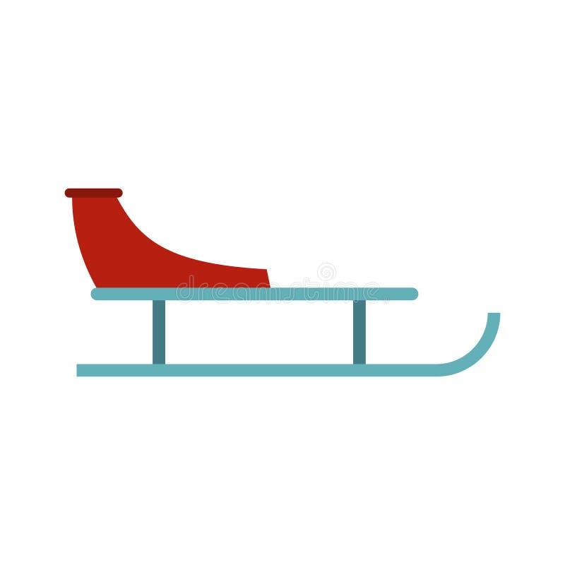 Icono del trineo, estilo plano ilustración del vector