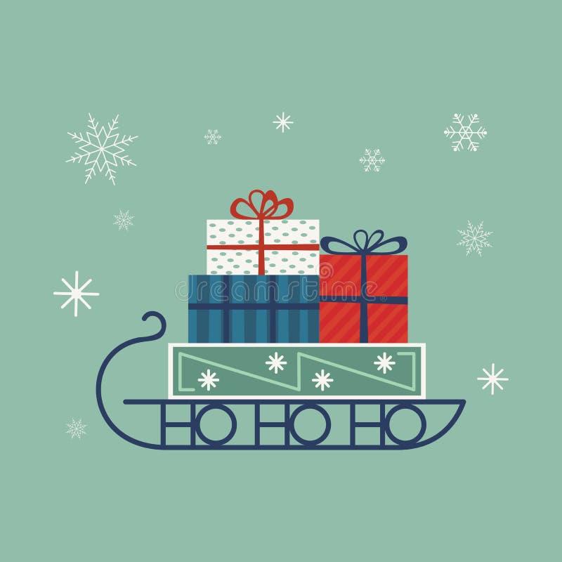 Icono del trineo del ` s de Papá Noel stock de ilustración