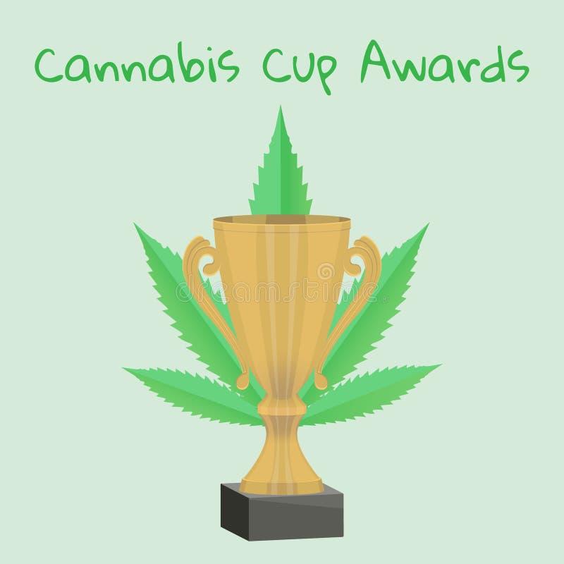 Icono del trofeo con la hoja de la marijuana ilustración del vector