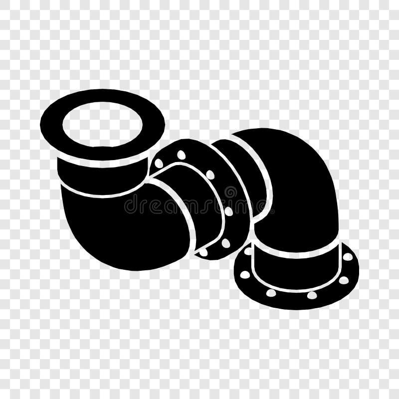 Icono del tubo del adaptador, estilo negro simple ilustración del vector
