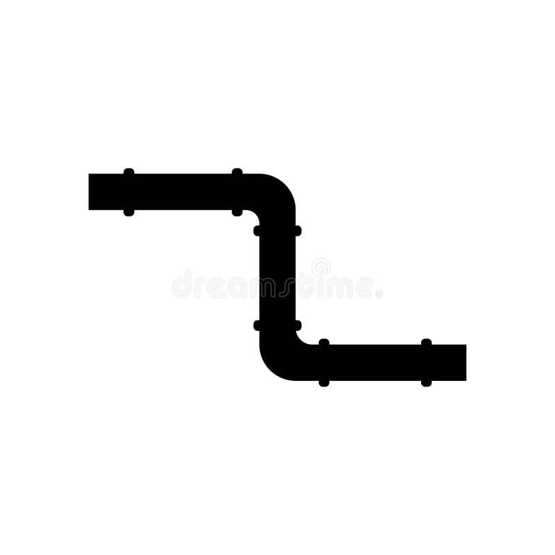 Icono del tubo de la fontanería de la fontanería doblado Negro aislado stock de ilustración