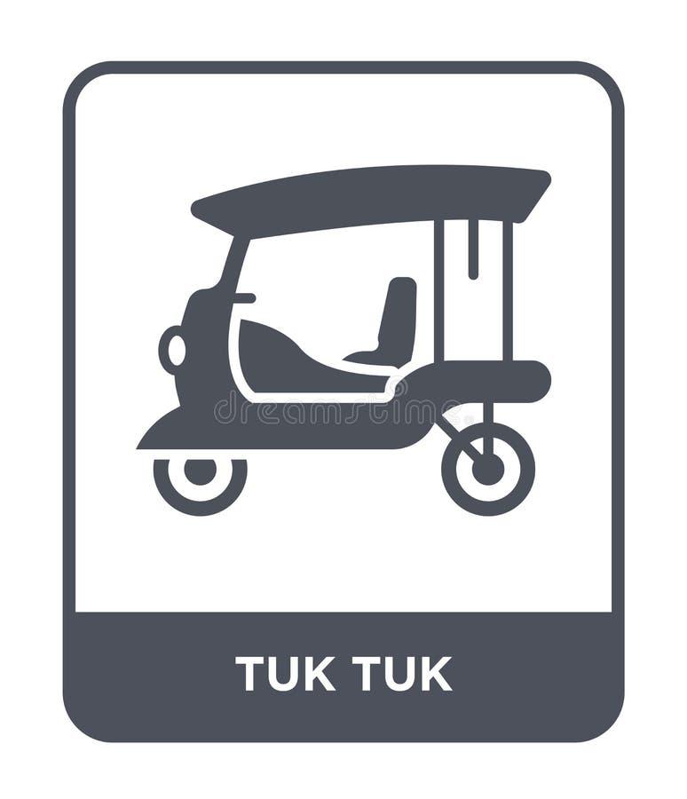 icono del tuk del tuk en estilo de moda del diseño icono del tuk del tuk aislado en el fondo blanco símbolo plano simple y modern stock de ilustración