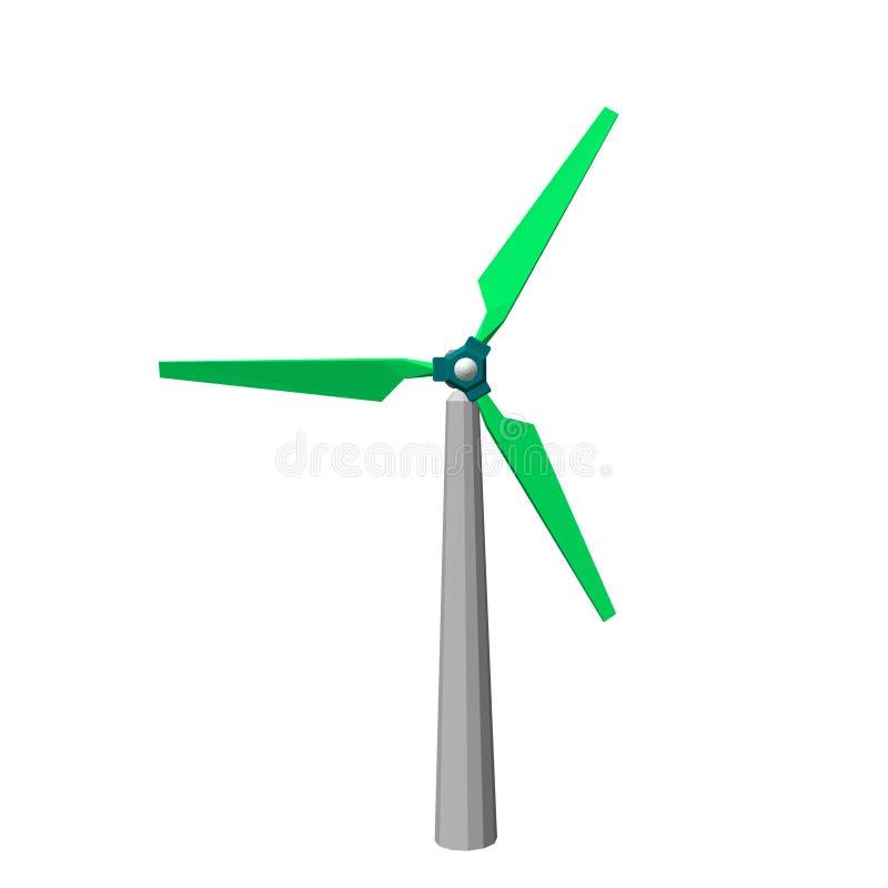 Icono del turbin del viento Aislado en el fondo blanco illust del vector 3d stock de ilustración