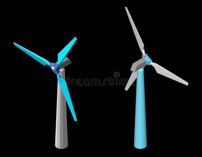 Icono del turbin del viento Aislado en fondo negro illust del vector 3d stock de ilustración