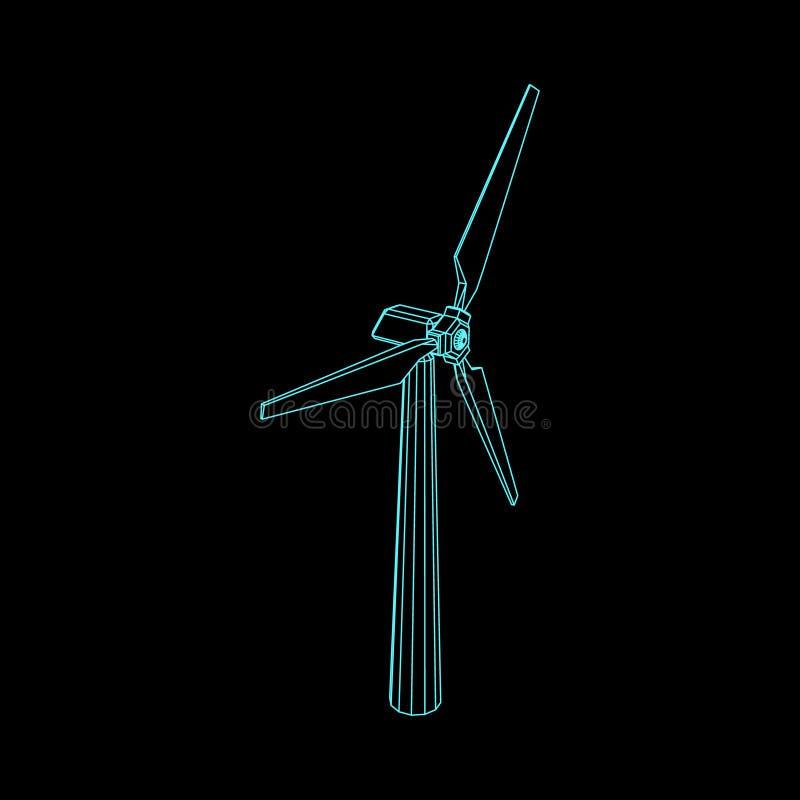 Icono del turbin del viento Aislado en fondo negro Ilustración del vector stock de ilustración