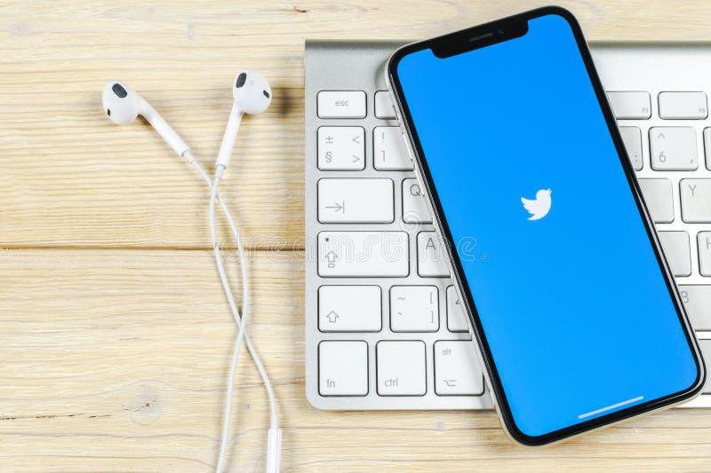 Icono del uso de Twitter en el primer de la pantalla del smartphone del iPhone X de Apple Icono de Twitter app Medios icono socia fotografía de archivo