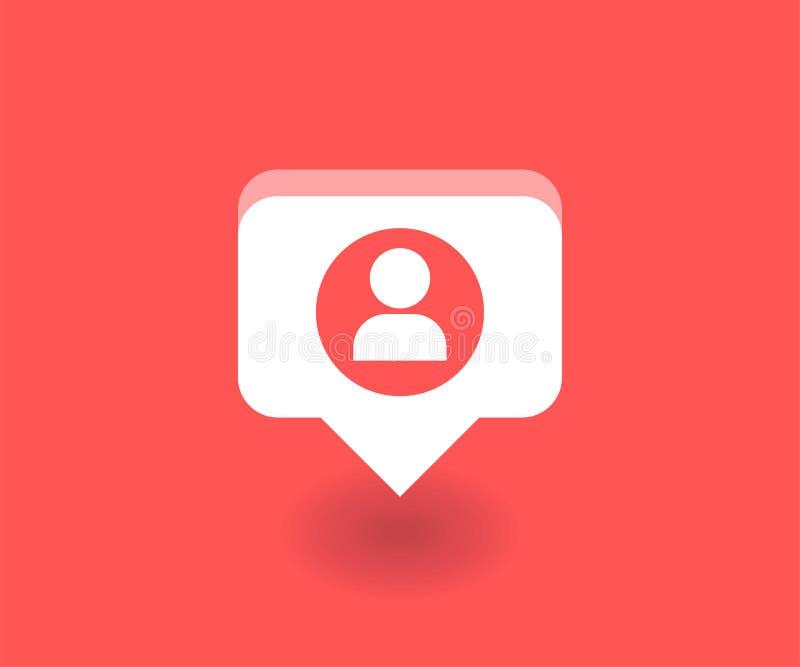 Icono del usuario, símbolo del vector en estilo plano aislado en fondo rojo Medios ejemplo social libre illustration