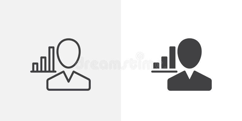 Icono del usuario y de la carta stock de ilustración