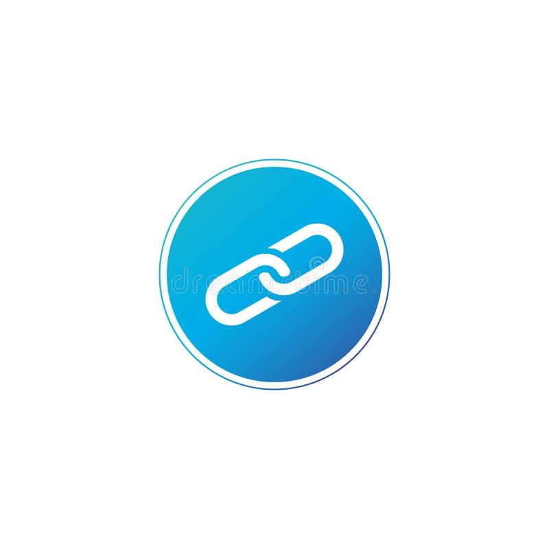 Icono del vínculo en círculo azul agradable Logotipo de cadena Ilustración del vector aislada en el fondo blanco ilustración del vector