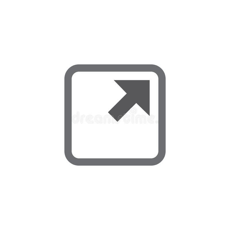 Icono del vínculo externo con la flecha y el cuadrado para mostrar salir de un sitio libre illustration