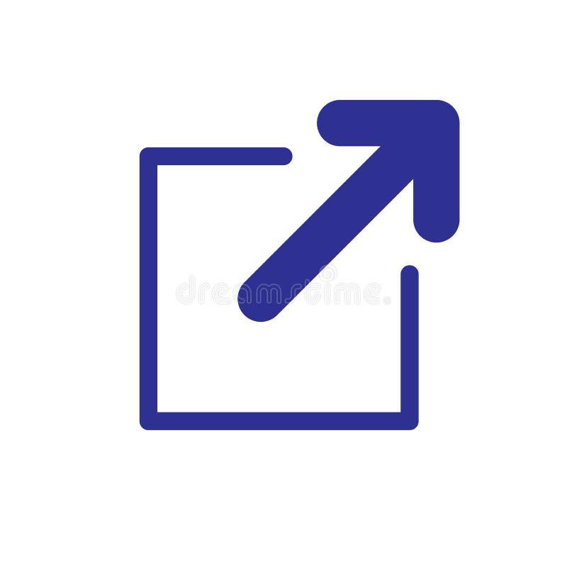 Icono del vínculo externo - muestra a usuario que saldrán de un app para una página web ilustración del vector
