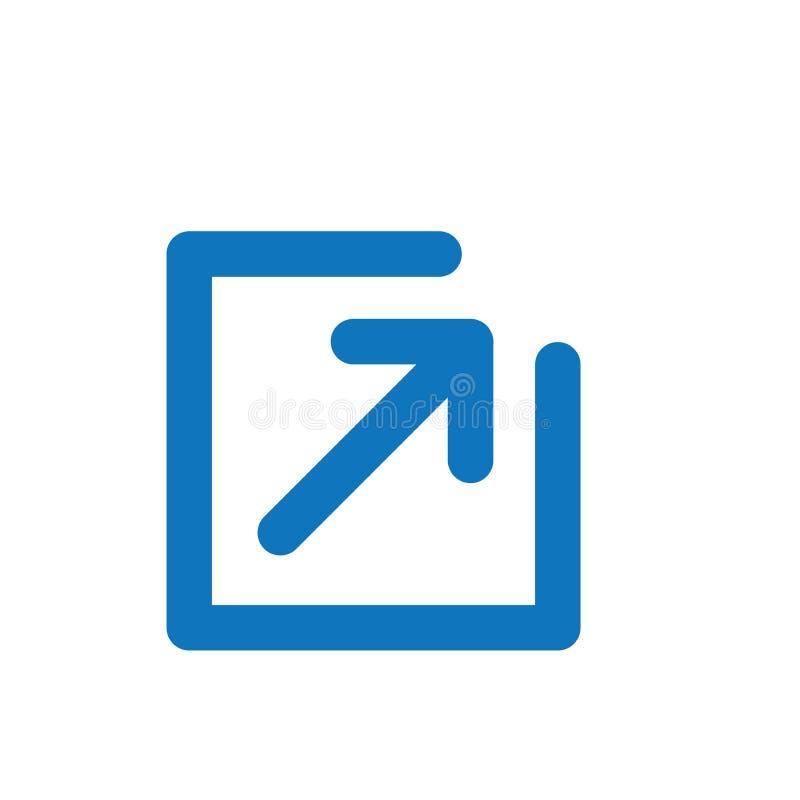 Icono del v?nculo externo con la caja y la flecha - icono de UI o de UX stock de ilustración