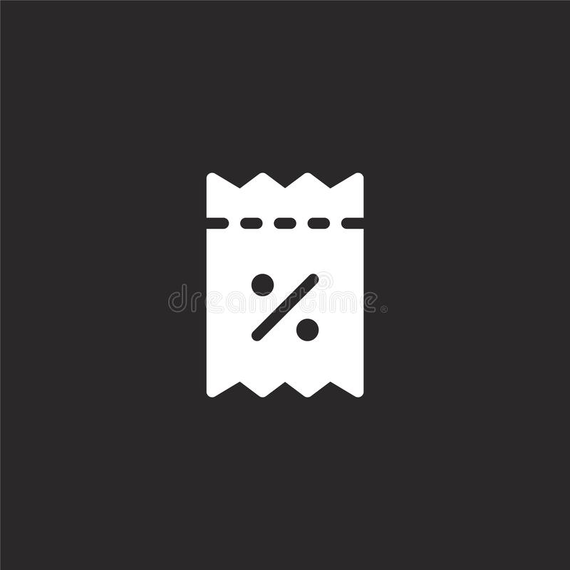 icono del vale del descuento Icono llenado del vale del descuento para el diseño y el móvil, desarrollo de la página web del app  stock de ilustración